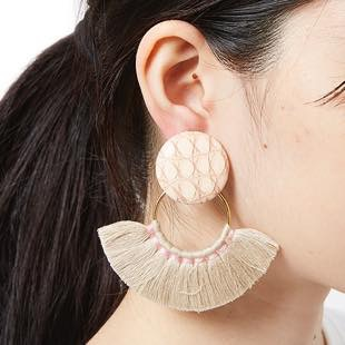 [チャビジュエリー]leather×ringtassel earring