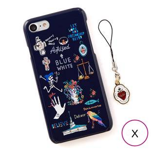 [ブルーホワイト]Amijed+BLUEWHITE Navy for iPhone X/XS