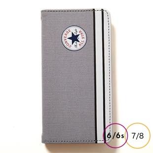 [コンバース]CANVAS GRY 手帳型 for iPhone 8/7/6s/6