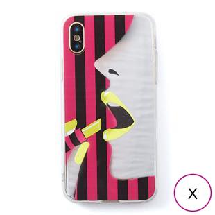 [ドリームプラス]dreamplus STRIPE MIRROR CASE イエローリップ for iPhone X
