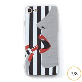 [ドリームプラス]dreamplus STRIPE MIRROR CASE レッドリップ for iPhone 8/7