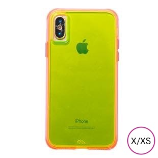 [ケースメイト]Case-Mate Tough Clear Neon- Green Pink for iPhone X / XS