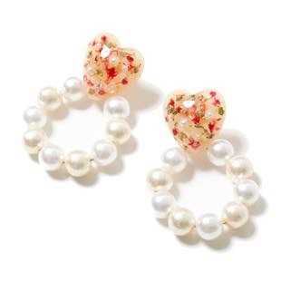 [グミ]flower heart pearl hoop ピアス