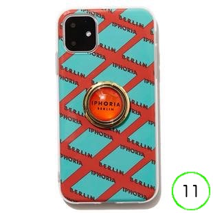 [アイフォリア]Gold Ring Illusion Pattern Orange&Mint for iPhone 11