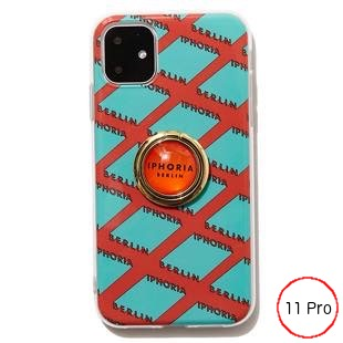 [アイフォリア]Gold Ring Illusion Pattern Orange&Mint iPhone 11pro
