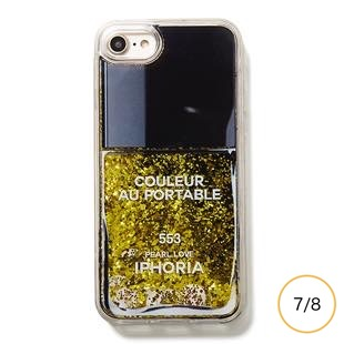 [アイフォリア]Nail Polish Black with Golden Glitter for iPhone 8/7