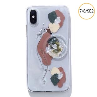[ファッジ×カルキ]【コラボ】karuki phonecase for iPhone 8/7/SE2(pink/gray)