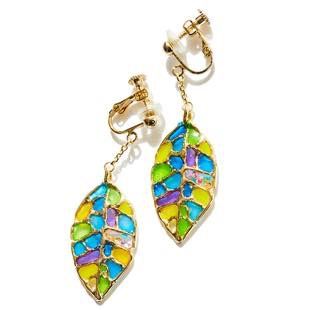[レアセル]Stained glass Leaf Earrings