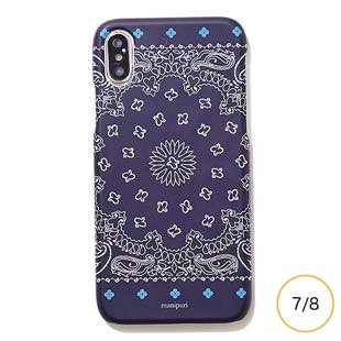[マニプリケースコレクション]manipuri case collection A-2 FLOWER MAT NAVY for iPhone 8/7