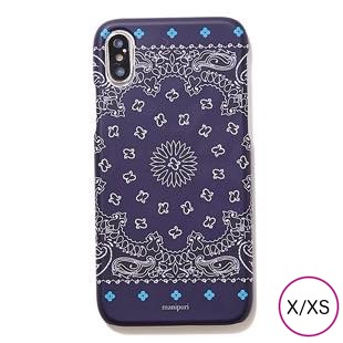 [マニプリケースコレクション]manipuri case collection A-2 FLOWER MAT NAVY for iPhone X/XS
