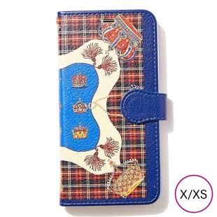 [マニプリケースコレクション]manipuri case collection CROWN-RED diary for iPhone X/XS
