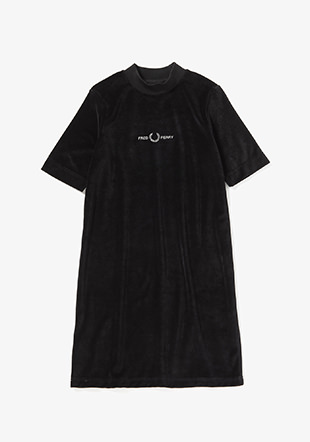 Velour Embroidered Dress