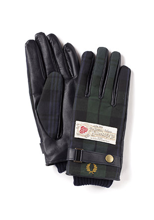 Touch Screen Leather / Woven Mix Gloves