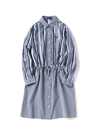 Striped Panel Shirt Dress