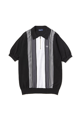 Stripe Zip Knit Pique Shirt