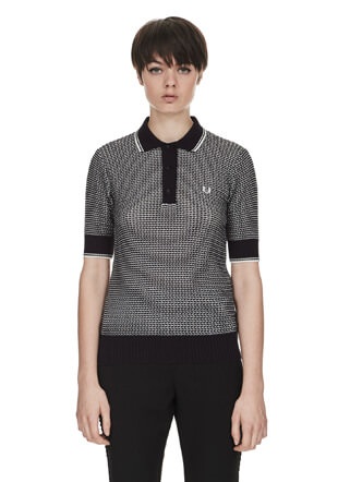 Reissues Two Colour Texture Knit Fred Perry Shirt