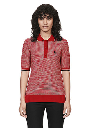 Reissues Two Tone Textured Knit Fred Perry Shirt