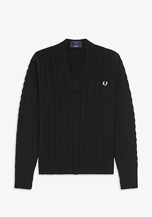 Reissues V Neck Cable Knit Jumper