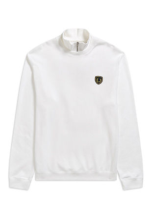 Shield Badge Zip-Neck Sweatshirt
