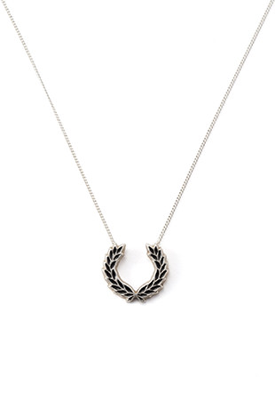 Enamel Laurel Wreath Silver Necklace