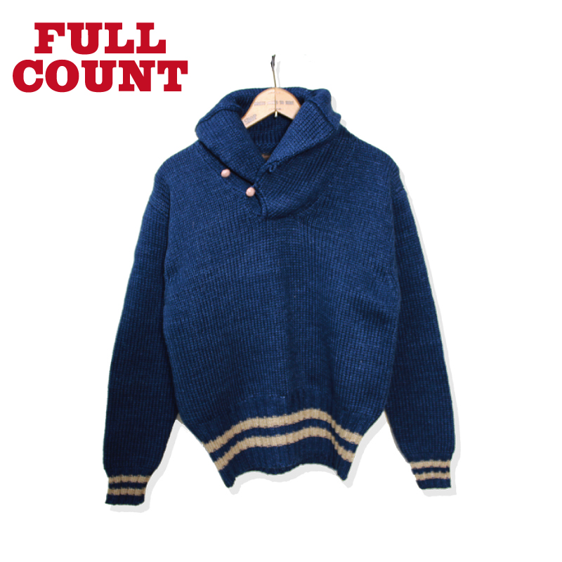 INDIGO COTTON SHAWLCOLLAR SWEATER【再入荷】