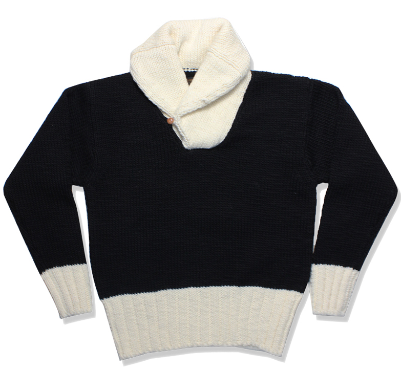 2TONE SHAWL COLLAR SWEATER