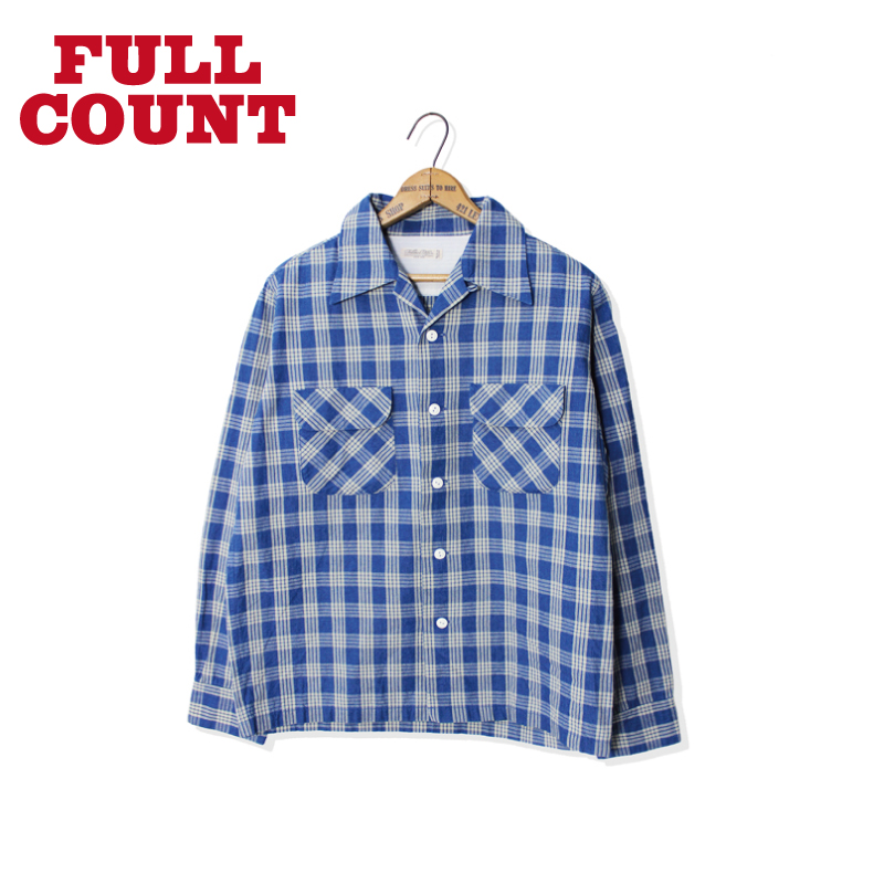 INDIGO PALAKA CHECK OPEN COLLAR SHIRT【再入荷!】