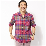 [ビッグマイク]INDIA MADRAS OPEN COLLAR SHIRT
