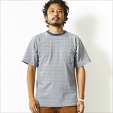 [カルクルー]SS CREW NECK TEE WITH PKT DENIM MICRO STRIPE