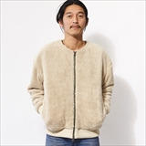 [ゴーヘンプ]NO COLLAR JACKET/SOFT BOA & H/C BORDER