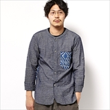 [ゴーヘンプ]MEDITATION SHIRTS/INDIGO STAMP PRINT/DOBBY CHAMBRAY