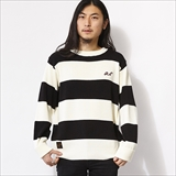 [ローター]Crew neck border rib knit