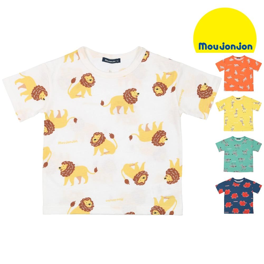 moujonjon (ムージョンジョン) 日本製動物総柄Tシャツ 80cm~120cm M32822