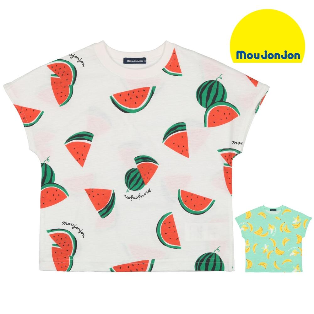 moujonjon (ムージョンジョン) 日本製スイカ?バナナ総柄半袖Tシャツ 80cm~120cm M32861