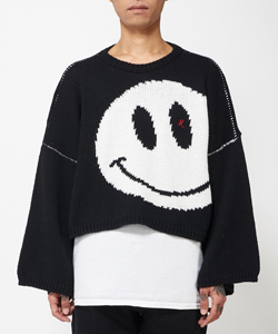 OVERSIZED ROUNDNECK SWEATER WITH SMILEY JACQUARD