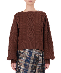 FOIL PRINT CABLE VOLUME SLEEVES SWEATER