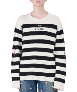 NO BORDER STRIPED WOOL-BLEND SWEATER