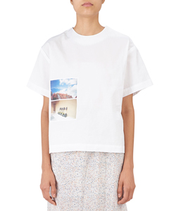 PICTURE PRINT SHORT SLEEVE COTTON TOP