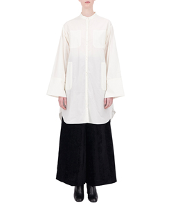 LONG SHIRT WITH STAND UP COLLAR