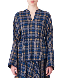 KASURI PLAID V-NECK TOPS