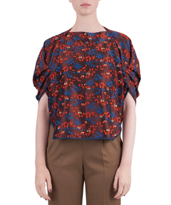 FLORAL CUT JACQUARD VOLUME TOPS