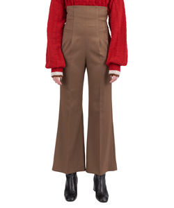 HIGH-WAISTED FLARED WOOL PANTS