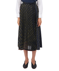 FLOCK PRINT PLEATED WRAP SKIRT
