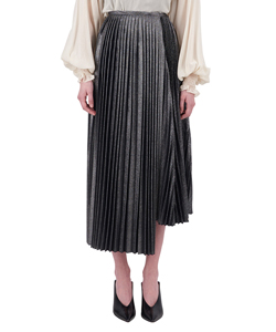 ASYMMETRICAL METALLIC PLEATED SKIRT