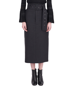STRAIRHT SKIRT WITH BELT