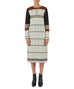EYELET JACQUARD LONG KNIT DRESS