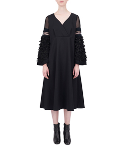 JAQUARD SLEEVE DRESS