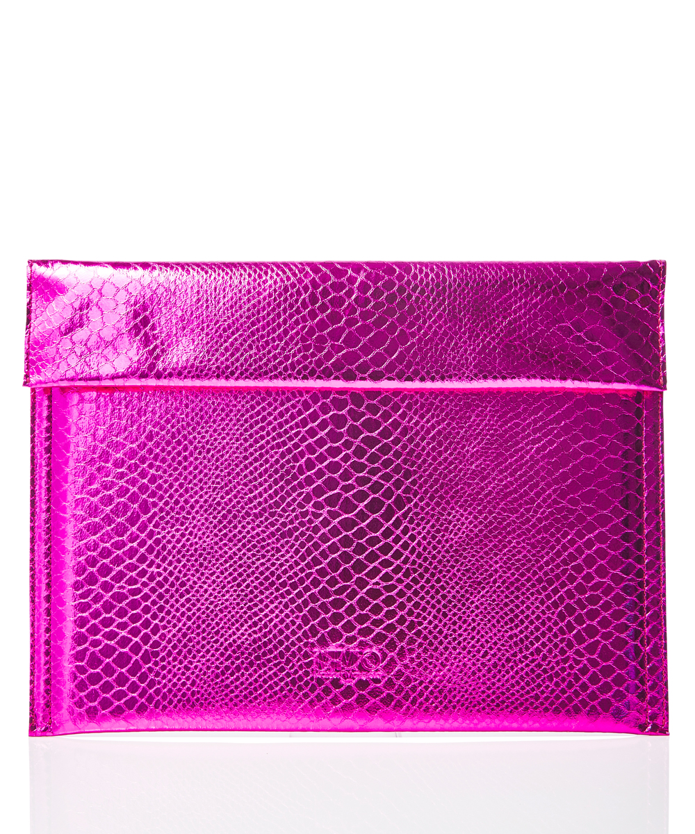 METALLIC LETTER CLUTCH BAG