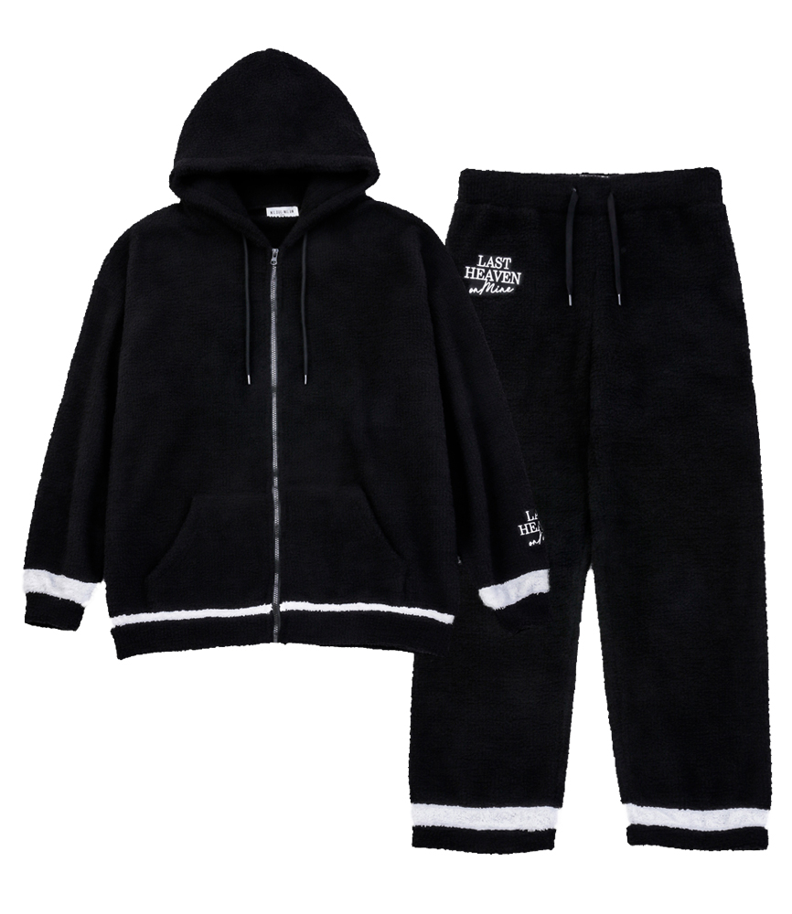 FLUFFY ZIP HOOD SET UP / BLK