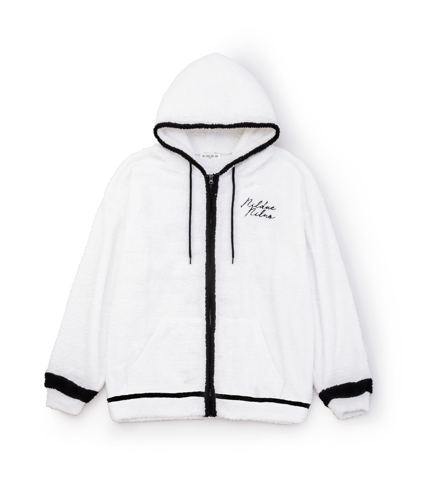 FLUFFY ZIP HOOD SET UP / WH